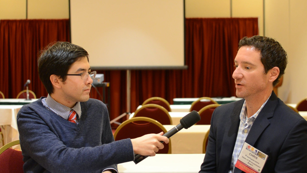 Allen Wagner interviews Chris Prestigiacomo, the State of Wisconsin Investment Board director of private markets. | Photo by Cristine Carlton
