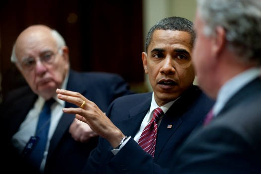 President Barack Obama and Paul Volcker (left) speak with General Electric CEO Jeffrey Immelt about economic recovery in 2009. | Photo by The White House