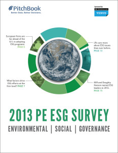 PitchBook's 2013 PE ESG Survey is publishing Wednesday.
