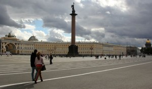 Palace Square in front of the Hermitage Museum in Saint Petersburg, Russia, August 2011.   Photo by Allen Wagner