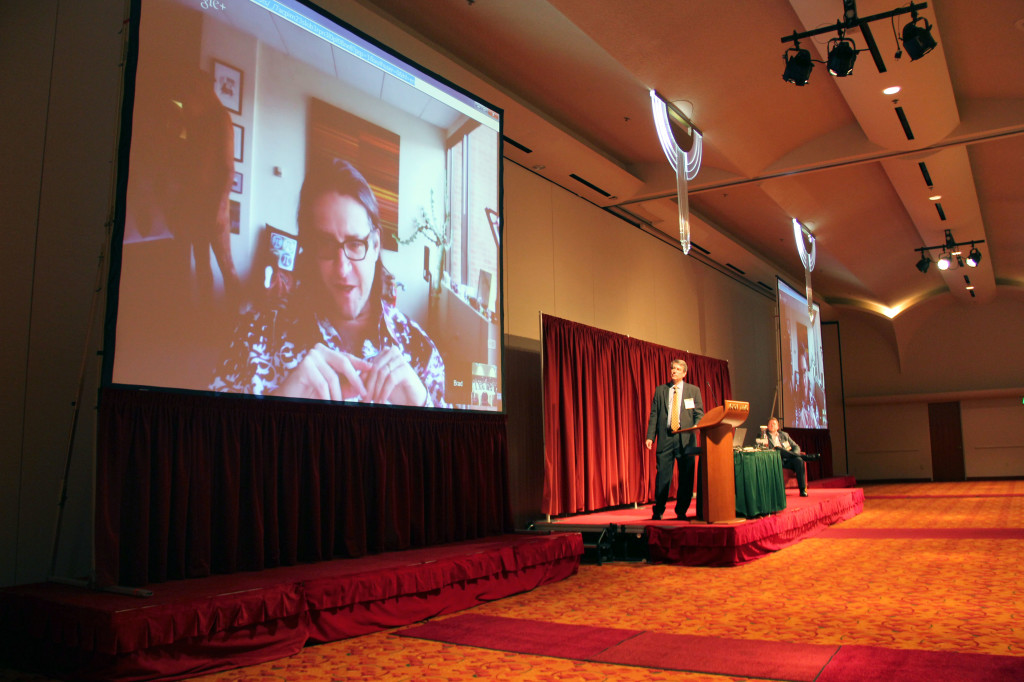 Foundry Group founder Brad Feld talks to the Wisconsin Early Stage Symposium via telepresence on Nov. 5, 2013.