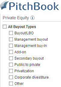 PitchBook private equity deal types