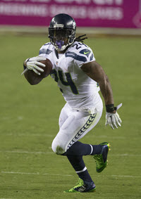 Seahawks running back Marshawn Lynch. Photo credit: Keith Allison, Wikimedia Commons
