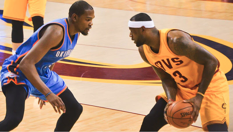 6eb59c257115 Kevin Durant and LeBron James are used to squaring off on the hardwood.  Now