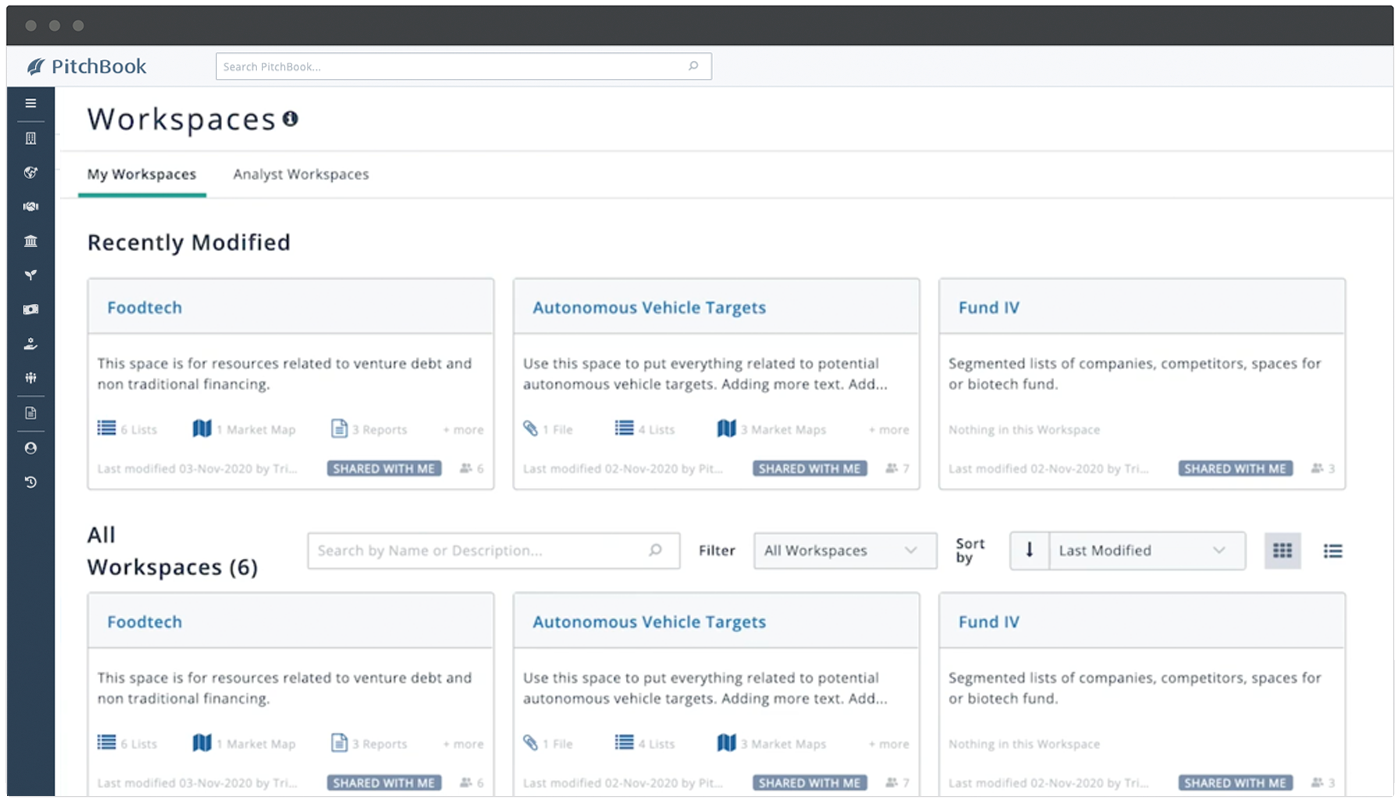 """PitchBook Workspaces feature image showing """"My Workspaces"""" tab with Foodtech, Autonomous Vehicle Targets, and Fund IV workspace examples"""