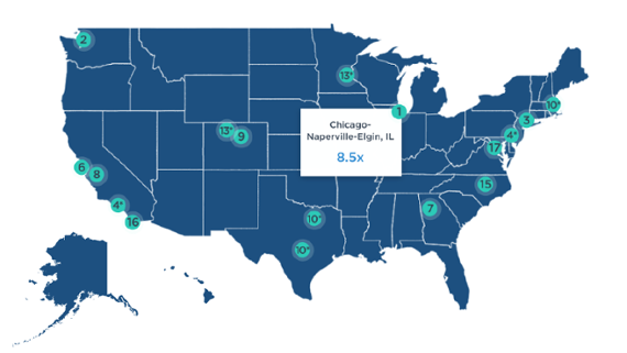 The Bay Area & beyond: Ranking US metro areas by VC invested and returns [interactive maps]