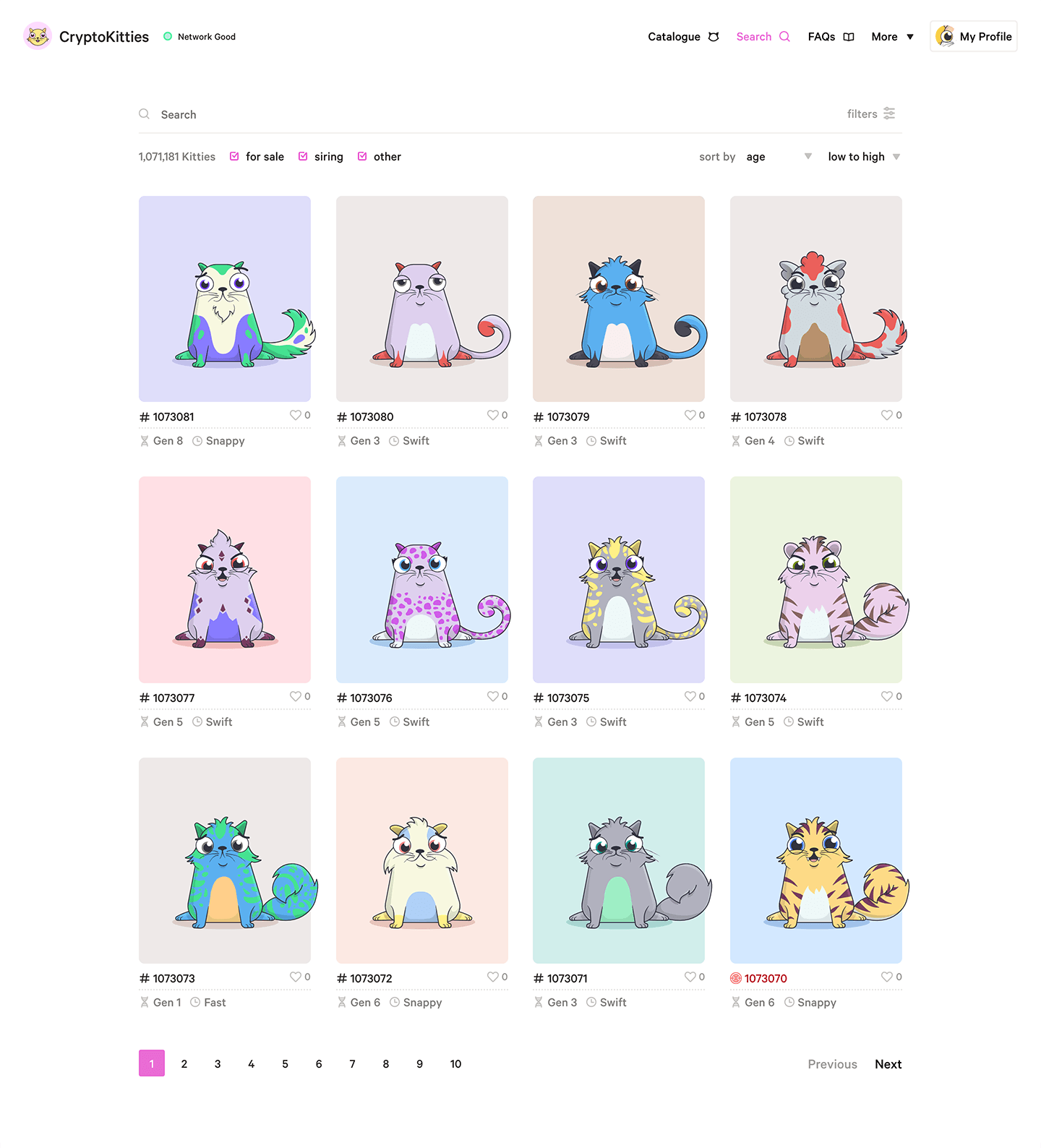 CryptoKitties search dashboard