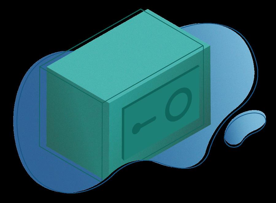 Green safe illustration on a blue organic shape background symbolizing fundraising