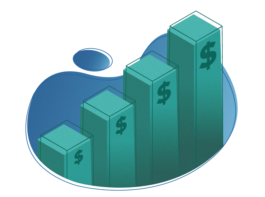 Green isometric bar chart with dollar signs on a blue organic shape background